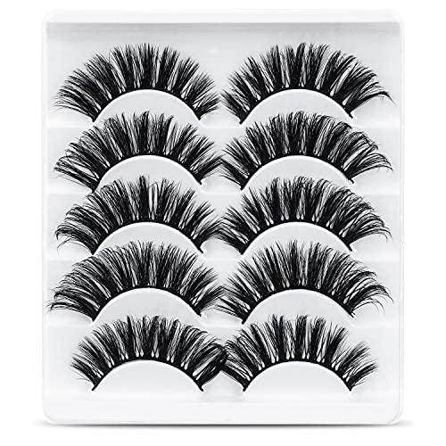 URAQT Falsche Wimpern, 5 Paare 3D Künstliche Wimpern Natürliche Dicke Lange Flauschige Wimpern, Curl Make-up-Wimpern, False Eyelashes, Schwarz (52)
