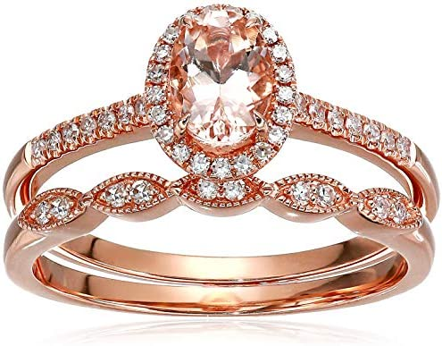 Olivia Paris Women s 14K Rose Gold Oval Morganite and Diamond Halo Vintage Bridal Ring Band product image