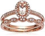Olivia Paris Women's 14K Rose Gold Oval Morganite and Diamond Halo Vintage Bridal Ring Band Set (1/4 cttw, H-I, I1), 8