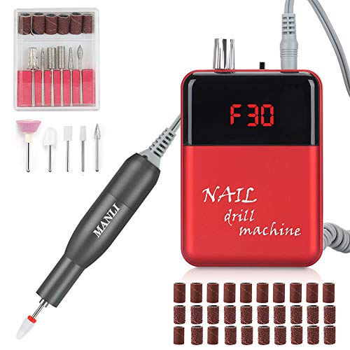 Professional Electric Nail Drill, Rechargeable 30000RPM Smart LCD Display Nail File Drill Set Kit for Acrylic Nails Gel Nail Glazing Nail Drill Nail Art Polisher Sets Nail Fast Manicure(Red&Black)