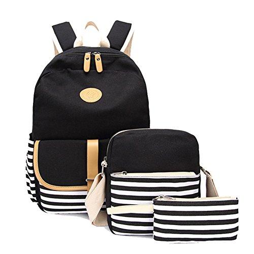 Tela Zaino Scuola Daypacks Canvas Backpack Casual, Ragazza /Donna Zaini Vintage + Sacchetto di spalla / Messenger Borse + borsa grande 3PCS set Nero