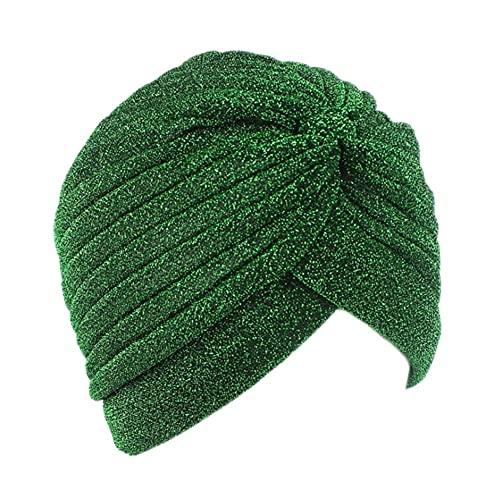 juntao Gorras de hijab interiores musulmanes brillantes para mujer, color verde