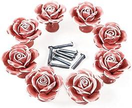 8st Rose Shaped Keramische Keukenkast Kast Lade Deurknoppen Handgrepen, Roze, XXL