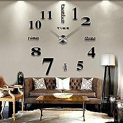 Sunywear Frameless DIY Wall Clock, Mute Round Shape Quartz Wall Clock Sticker Home Decorative Clock Wall Clocks, 19.7 x 19.7inch