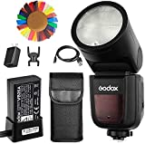 Godox V1-N Flash para Nikon, 76Ws GN92 2.4 G TTL foco de flash de cabeza redonda, 1/8000 HSS, 480 disparos de potencia completa, 1.5 segundos. Recycle Time, batería de litio intercambiable de 2600 mAh