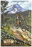 Mountain Bike Mt. Hood National Forest Giclee Art Print Poster from Original Travel Artwork by Artist Paul A. Lanquist 12' x 18'