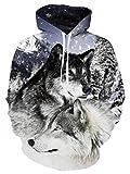 uideazone Coole 3D Wolf Kapuzenpullover Wolf Hoodie Kapuzenjacke Wolf Pullover für Damen Herren,XXL-3XL,Wolf 1