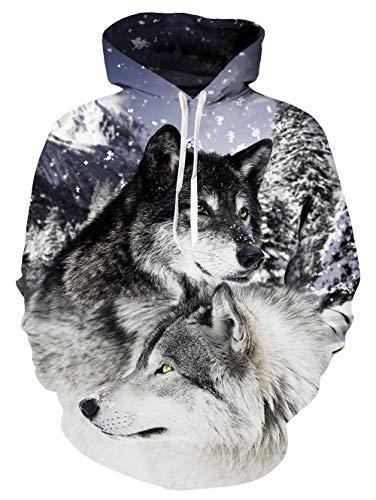 uideazone Uniesx 3D-Druck Hoodies Fleece-Pullover Lustige Kapuzenpullover Sweatshirt für Herren Damen mit Großen Taschen …, Schneewolf, S