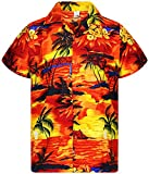 V.H.O. Funky Chemise Hawaiienne, Surf, Orange, XS