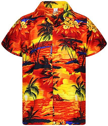 V.H.O. Funky Camisa Hawaiana, Surf, Orange, M