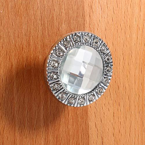 Jeffergarden Knob Diamant Kristallglas Kleiderschrank Stoßgriff Schrank Schubladentür Clear Home Schminktisch Silber Home Decor Schlafzimmer (10 Stück)
