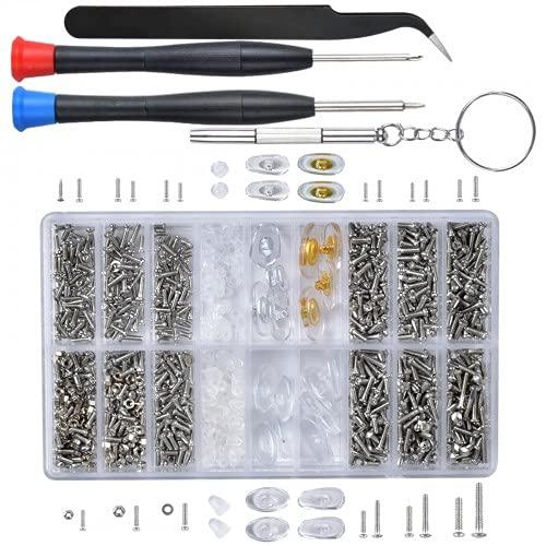 Pinsheng 1000 Piezas Kit de Reparación de Anteojos, Kit De Reparación De Micro Tornillos, Mini Destornillador Pinzas para Anteojos Adecuado para Gafas, Relojes