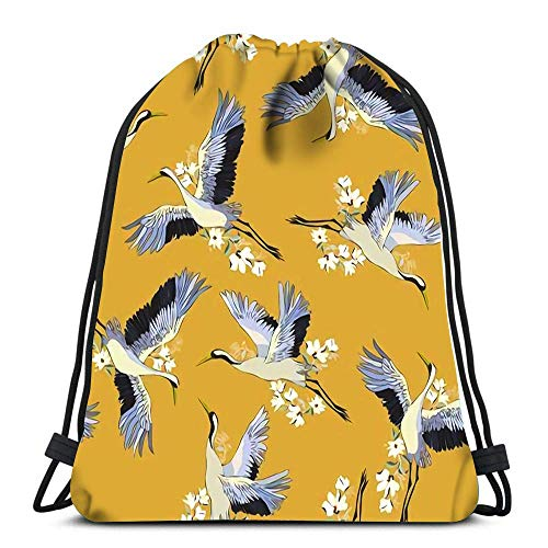 Lsjuee Backpack Drawstring Bag Japanese of Birds and Water Traditional Vintage Fabric Print White Blue Indigo
