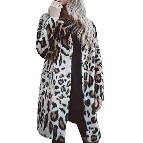 FRAUIT Damen Pelzmantel Leopard Print Mantel Lange Trenchcoat Schlank Winterjacke Revers Steppmantel Slim Fit Mode Taschen Casual Langarm Fleecejacken Taste Frauen Winterjacke Fashion