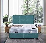 Cama canapé Madrid con canapé de tela, cama doble color turquesa, tamaño 200 x 200 cm