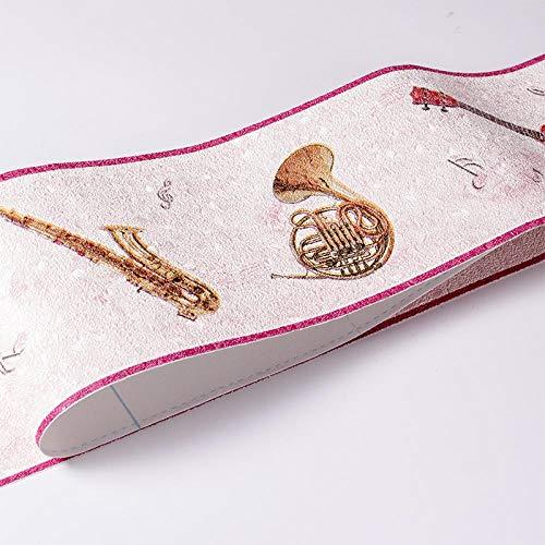 Papel pintado Frontera Autoadhesivo Rosa Instrumento Musical Cocina Baño Decoración De Pared Extraíble 10x500cm