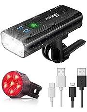 SKEY Fietslicht Set, Fietslicht LED Fiets Koplamp 1200 Lumen USB Oplaadbaar met 5 Modes 5200mAh Batterijen IPX5 Waterdicht Schokbestendig Voor- en Achterlichten voor Weg- en Mountainbikes