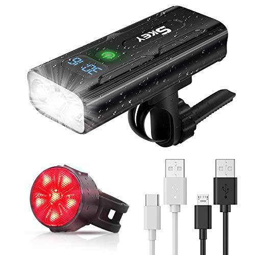 SKEY Éclairage Vélo Avant Etanche, Lampe Vélo Arrière LED, Puissant 1200 Lumen Rechargeable USB IPX5 Antichoc 5 Modes de Luminosité Kit Lumière Vélo 5200mAh Avant et Feu Arrière pour VTT, VTC, Bicycle