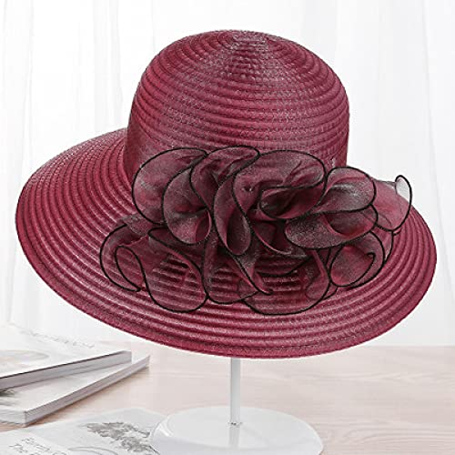 NJJX Verano De ala Grande Playa Sombreros para El Sol para Mujeres Protección UV Mujeres Gorras Sombrero Estilo Moda Dama Flores Sombrero para El Sol 55-59 Cm 6