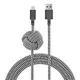 Native Union Night Cable - 3 Metres Ultra-Robusto Reforzado [Certificado Apple MFi] Cable de Carga Lightning a USB con Nudo Lastrado (Zebra)