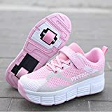 Mrzyzy Zapatillas con Ruedas Zapatos de Roller Ajustable Doble Rueda Patines Calzado Deportivo al Aire Libre Niños Niña Moda Gimnasia Zapatos de Skateboar (Color : Pink, Size : 38EU)