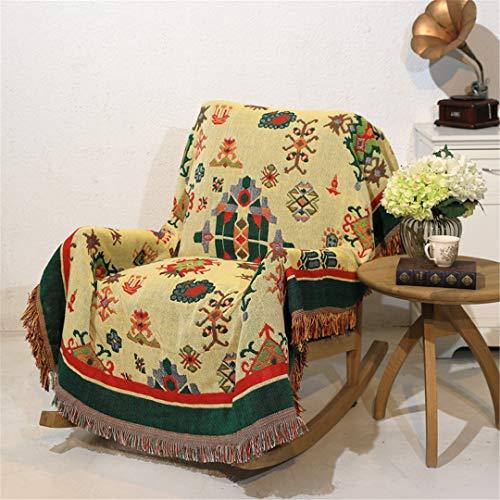 DFLYHLH Manta de Tiro étnica Algodón de Doble Cara Manta de sofá Toalla Cubierta Completa Colcha de múltiples especificaciones 002 90x150cm