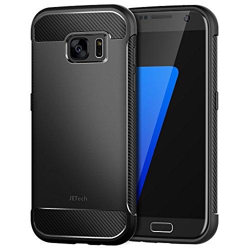 JETech Hülle für Samsung Galaxy S7 Tasche mit Stoßdämpfung und Carbon Faser Case Cover Handyhülle (Schwarz)