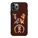Coque de Smartphone iPhone 11 Pro de Couleur (Noire) - Parodie One Piece - Pokémon - Fairy Tail - Natsu, Monkey D Luffy et Salamèche - Une Fusion de feu(Coque de qualité supérieure - imprimé en Fran