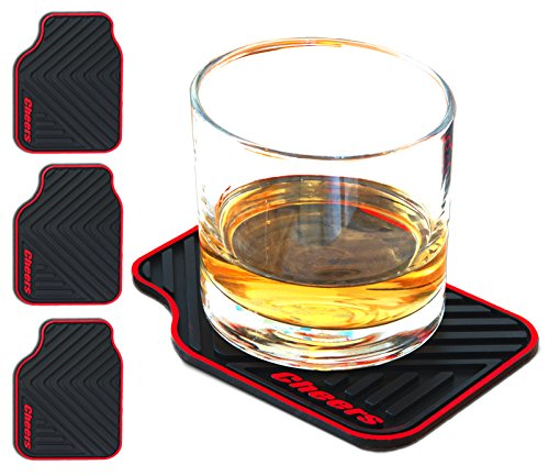 Janazala ARTORI Silicone Drink Coasters, Cars Enthusiast Gifts for Men, Gifts Ideas for Car Lovers, Mens Valentines Day, Birthday Gift for Men Cave, Brother, Dad, Him, Guys, Christmas, Set of 4