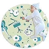 LKJDF Alfombras de juego para niños, alfombra redonda de cocina lavable alfombra circular, guitarra de dibujos animados