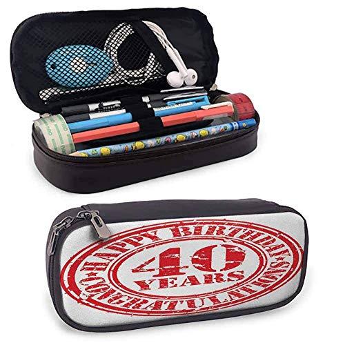 DJNGN 40 ° compleanno cancelleria portapenne datato vecchio timbro di gomma con numero quaranta messaggio di congratulazioni sgangherata look scrivania scatola portaoggetti rosso bianco