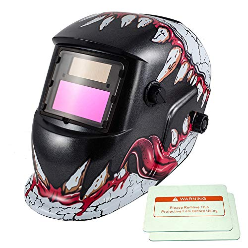 iMeshbean Solar Power Auto Darkening Welding Helmet with Wide Shade Range 4-9/9-13 with Grinding Feature & 2 pcs Extra Lens Covers for ARC MAG MIG MMA Stick TIG Plasma Cutting (Model-44)
