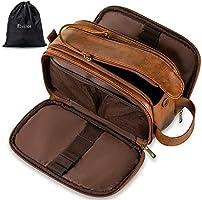 Elviros Toiletry Bag for Men, Large Travel Shaving Dopp Kit Water-resistant Bathroom Toiletries Organizer PU Leather...
