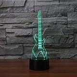 Veilleuse 7 Couleurs Changement 3D Lampe De Table Led Guitare Électrique Instruments De Musique Veilleuse Usb Chambre Éclairage Décor À La Maison Musique Cadeaux-Interrupteur Tactile
