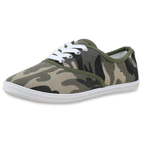 SCARPE VITA Damen Sneakers Prints Sportschuhe Camouflage Stoffschuhe 160527 Camouflage Dunkelgrün 36