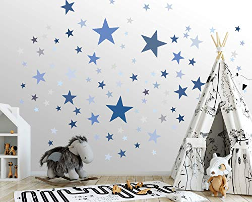 50 Sterne Wandtattoo fürs Kinderzimmer - Wandsticker Set - Pastell Farben, Baby Sternenhimmel zum Kleben Wandaufkleber Sticker Wanddeko - Kleinkinder, Erstausstattung auf Rauhfaser, Blau