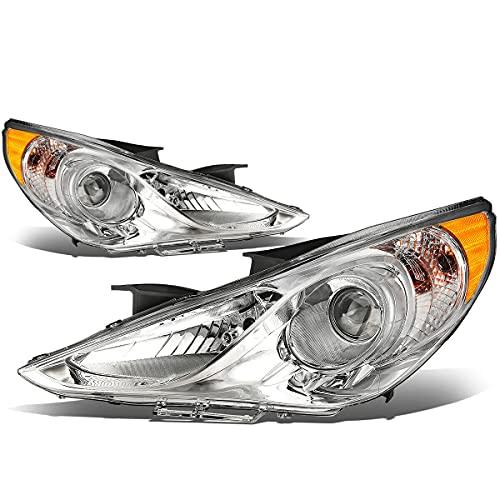 For 2011-2014 Hyundai Sonata Headlight Headlamp Chrome Housing Driver and Passenge Side