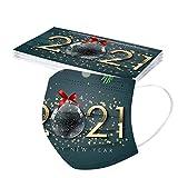 757 10 Stück Mundschutz Einweg, 2021 Weihnachten Bedruckte Muster Mund und Nasenschutz Bandana Atmungsaktiv Stoffmaske Ohrschlaufen Bedeckung Erwachsene Halstuch Schal