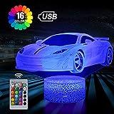 Sportwagen 3D Illusion Lampe, 3D Nachtlicht mit 16 Farben Ändern und Fernbedienung, Geburtstags und Weihnachtsgeschenke für Kinder(Sportwagen)