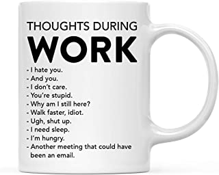 Andaz Press 11oz. Funny Rude Coffee Mug Gift for Coworker Boss, Thoughts During Work, 1-Pack, Includes Gift Box, Witty Birthday Christmas Gift Ideas for Office Staff, School, Laboratory