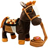 iBonny Stuffed Animal Plush Pony Toy My First Pony Walk Along Toy Realistic Walking Actions with Horse Sounds and Music Brown