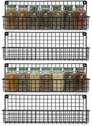 Aesthetic Farmhouse Spice Racks For Wall Mount - Space Saving And Easy To Install Set of 4 Hanging Racks - The Perfect Seasoning Organizer For Your Kitchen