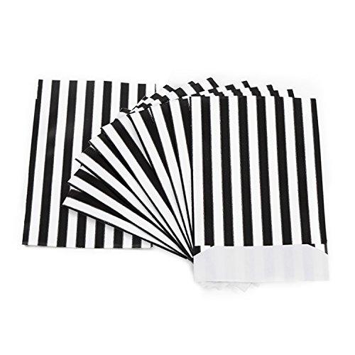 50 Stück schwarz weiß gestreift Papiertüten 13 x 18 cm Verpackung Kleinteile Schmuck Geschenkverpackung Weihnachten Geschenk-Beutel Geschenk-Papier Flachbeutel Papierbeutel
