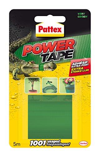 Pattex Power Tape, Ruban adhésif extra fort pour charges lourdes, Bande adhésive toilée tous supports, Rouleau adhésif étanche de 48 mm x 5 m, vert