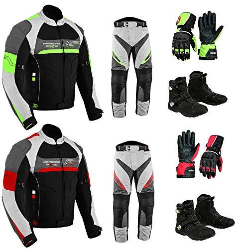 Juego de motocicleta para hombre, impermeable, moto, moto, moto, traje de dos piezas en textil aprobado por la CE, chaqueta + pantalones + botas + guantes