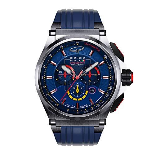 Giorgio Piola Men's Strat-3 Blue Sport Chronograph Watch (Brushed Titanium)