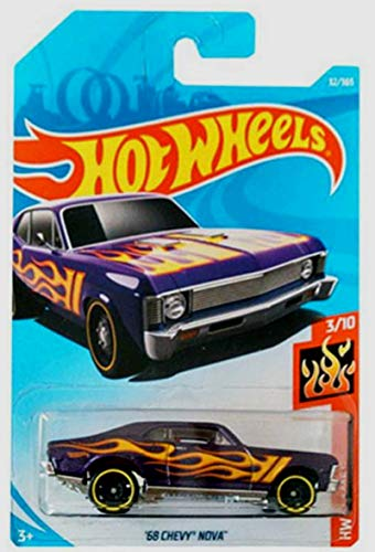 Hot Wheels 2018 50th Anniversary HW Flames '68 Chevy Nova 32/365, Purple