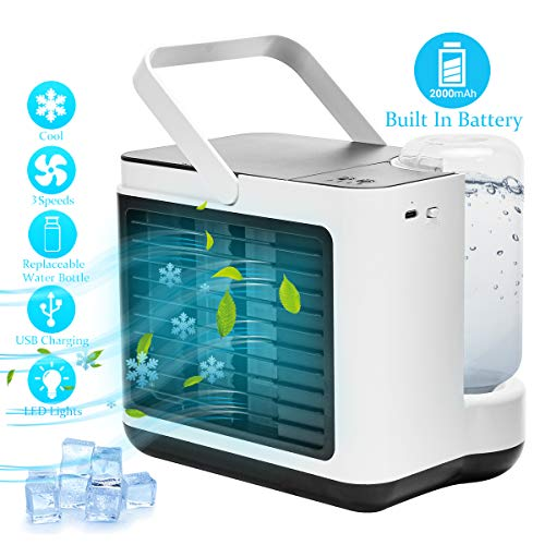 Portable Air Conditioner Fan, Personal Air Cooler Desk Fan Built in 2000 MAH Battery with 3 Speeds Suitable for Office, Camping, Kitchen, Bedroom (White)