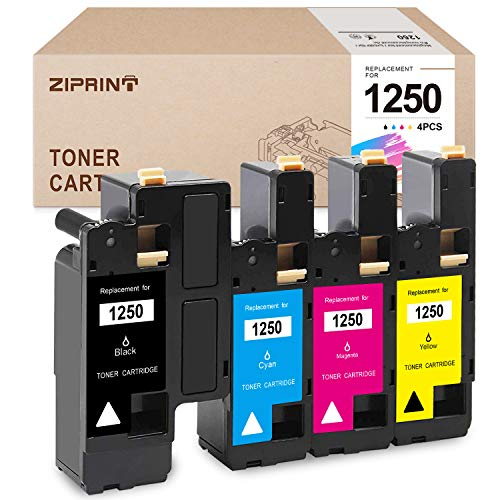ZIPRINT Compatible Toner Cartridge Replacement for Dell 1250 810WH XMX5D to use with 1250C 1350CNW 1355CN 1355CNW C1760NW C1765NF C1765NFW Printer (Black, Cyan, Magenta, Yellow, 4-Pack)