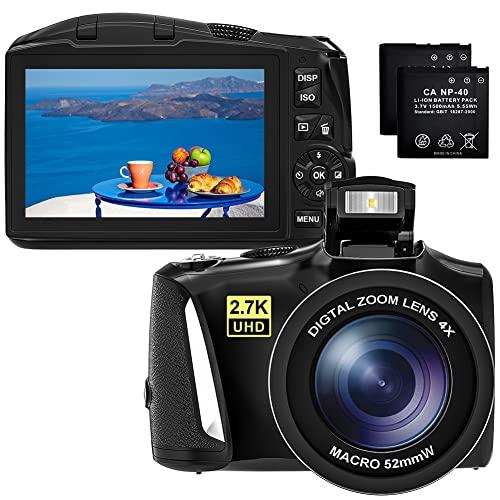 Digitalkamera Vlogging-Kamera HD 2.7K 48MP Fotoapparat Digitalkamera Wiederaufladbare Kompaktkamera für Jugendliche und Anfänger mit 2 Batterien (G09)